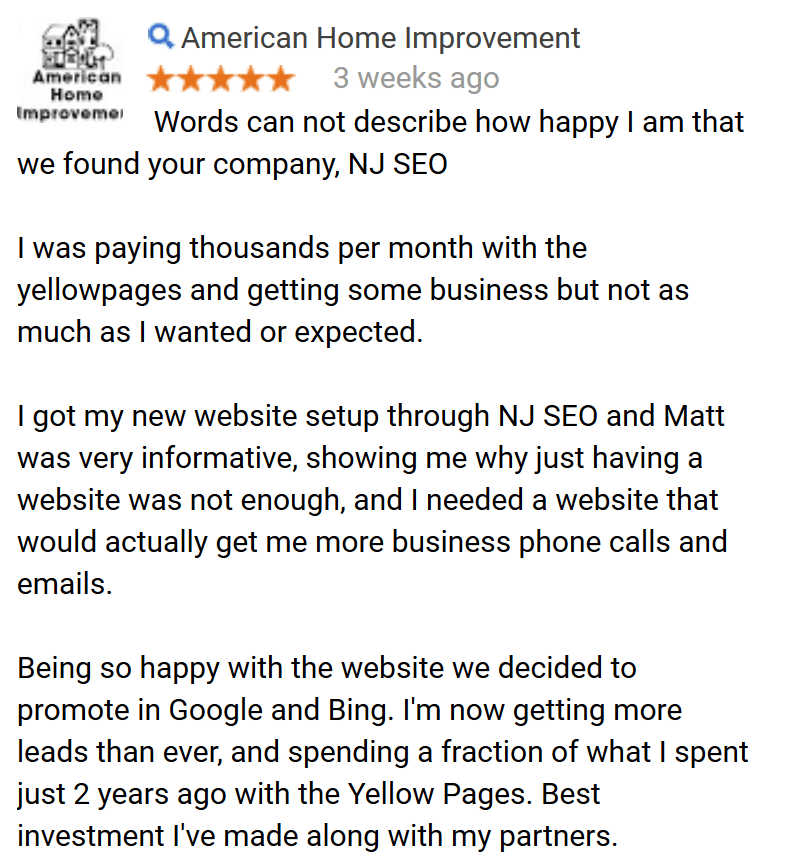 NJ SEO American Home Improvement Testimonial
