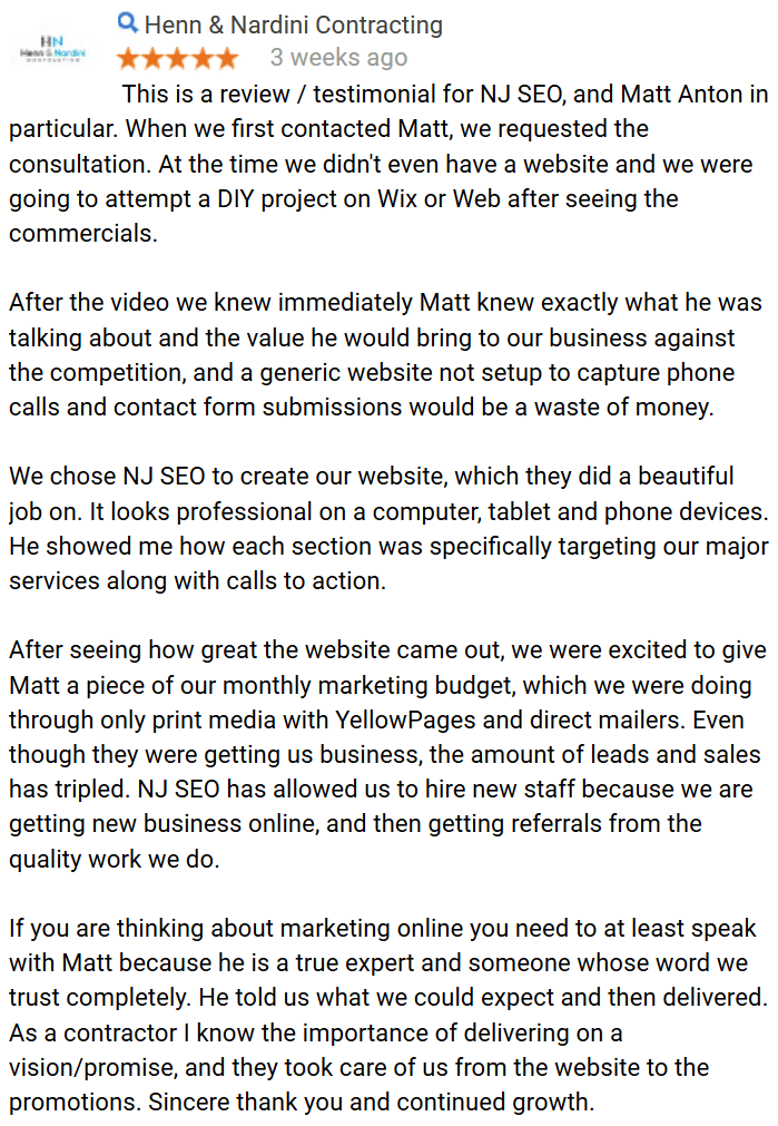 NJ SEO HN Contracting Testimonial