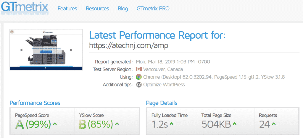 Ameritechnology Google AMP Pagespeed