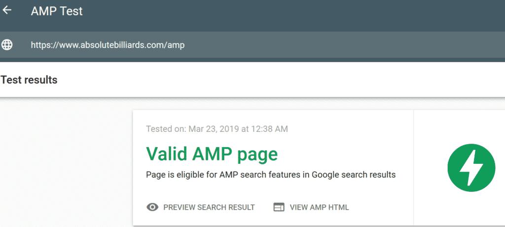 Google AMP Pool Table Website