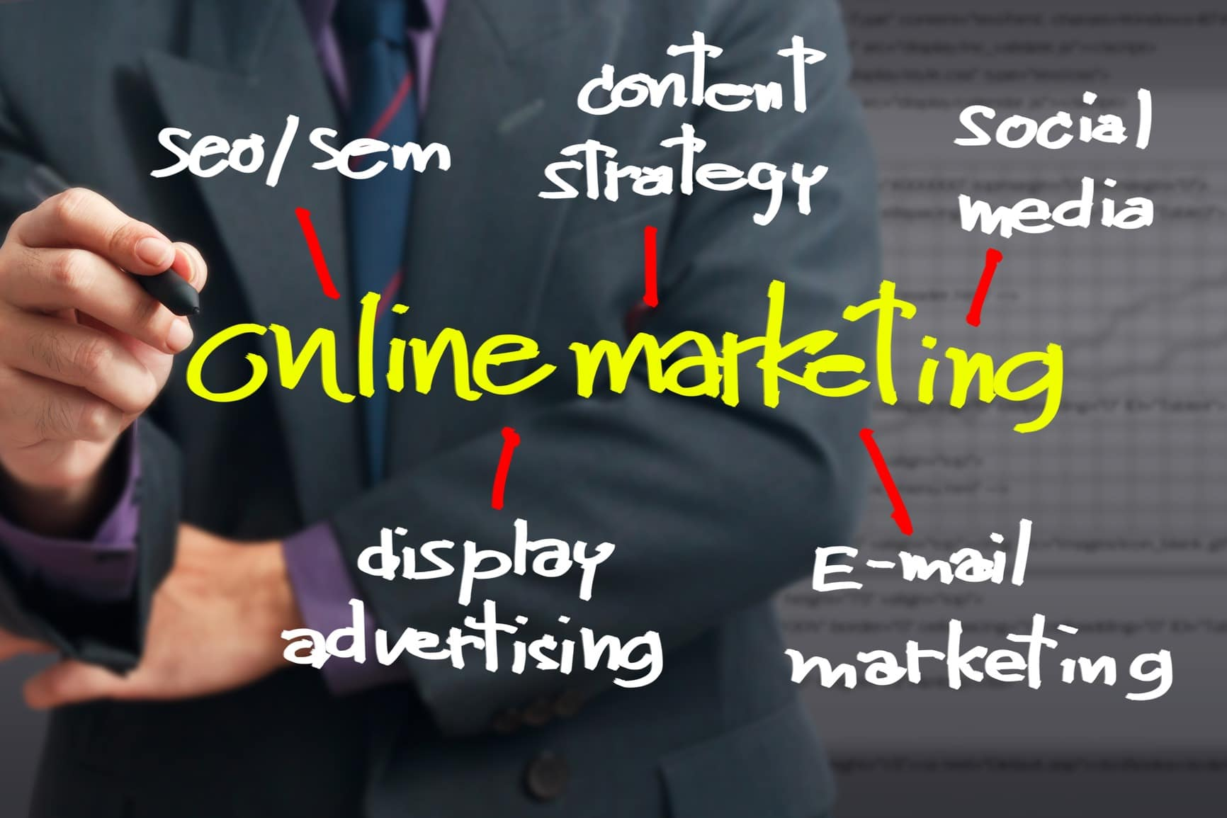 Online marketing with businessman