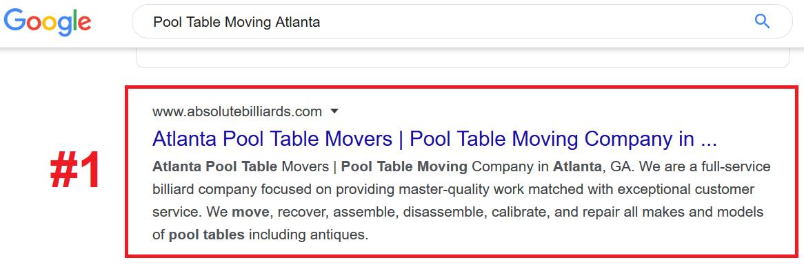 Pool Table Movers SEO