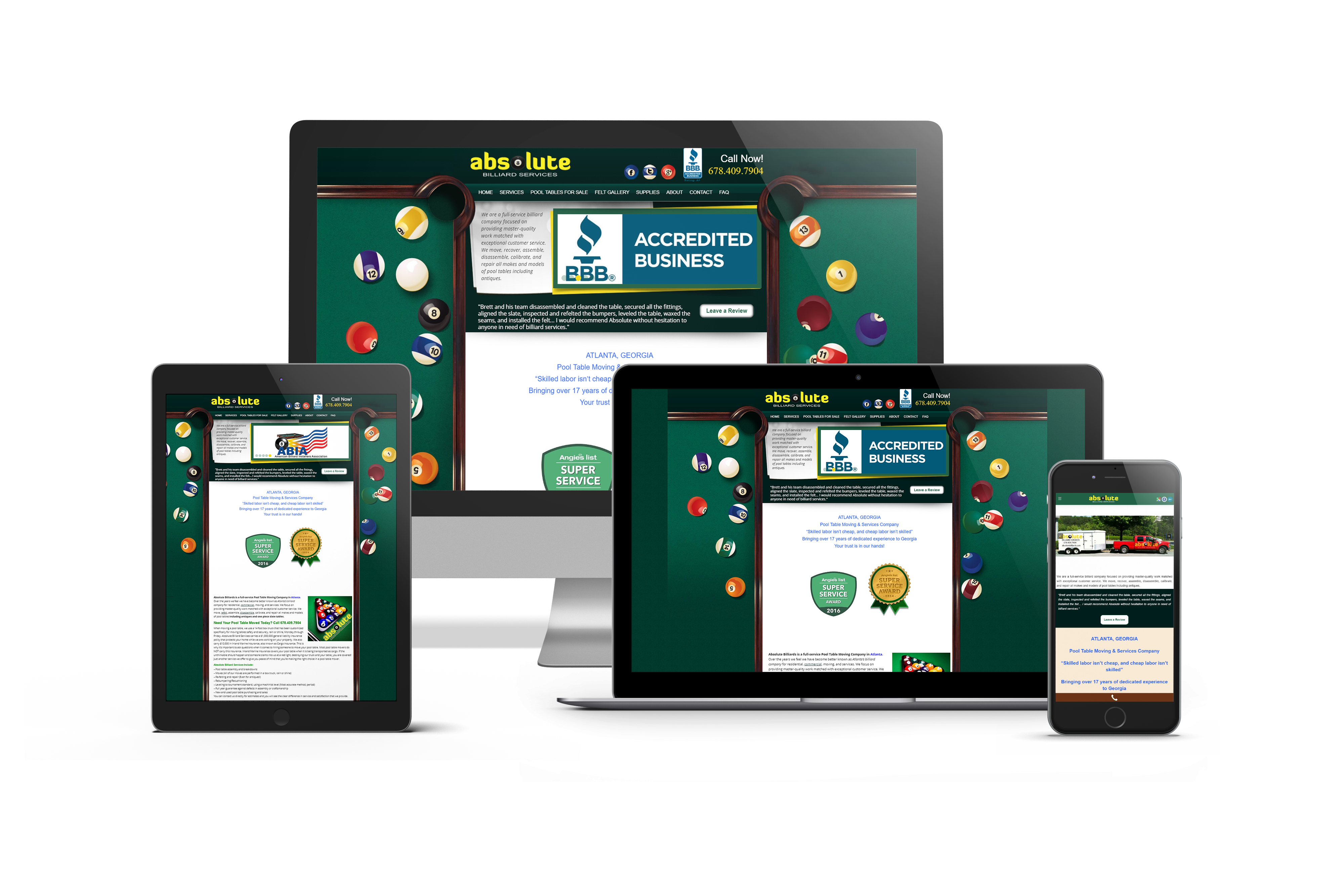 Pool Table Website Design