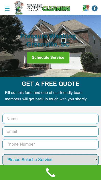Pressure Washing Mobile Website Design