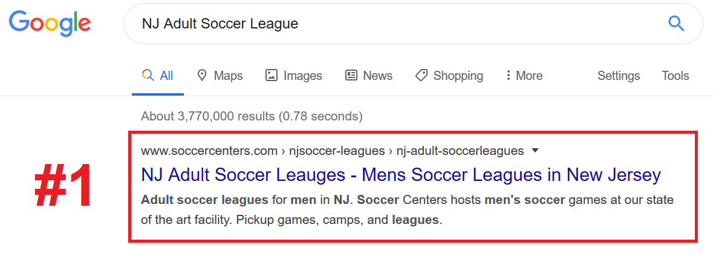 Soccer League SEO